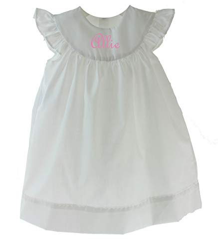 Remember Nguyen Girls White Monogrammed Summer Dress Sleeveless Beach Outfit 4T]()