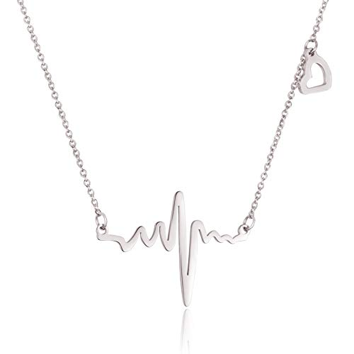 WDSHOW Stainless Steel Heartbeat Love Cardiogram with Heart Necklace Silver-Tone]()