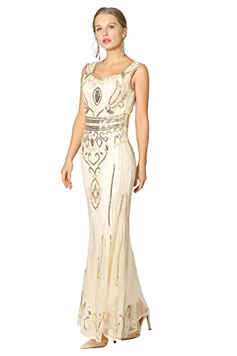 Metme Sequin Beaded Long Dresses, Gatsby Theme Party Night Sexy Women Flapper Dress Prom]()