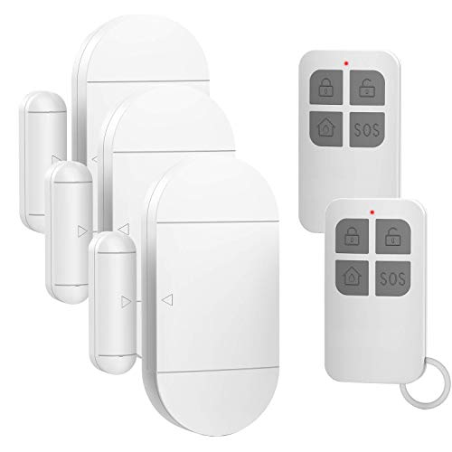 (Door Window Alarm for Home Pool Kids Safety with 2 Remote Controls Door Entry Burglar Magnetic Sensor Alert Kit for Store Garage 130dB 4 Alarm Mode)