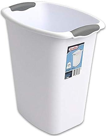 Amazon Com Sterilite 10358006 White 3 Gallon Wastebasket With Grey Handles Industrial Scientific