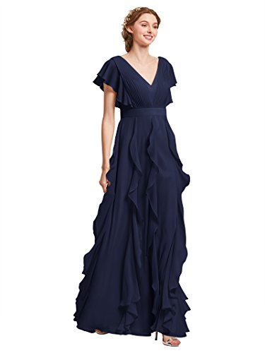 Designer Day Dresses - AW Bridal Long Bridesmaid Dresses for Women Formal Dresses with Sleeves Chiffon Gowns and Evening Dresses, Dark Navy, US14