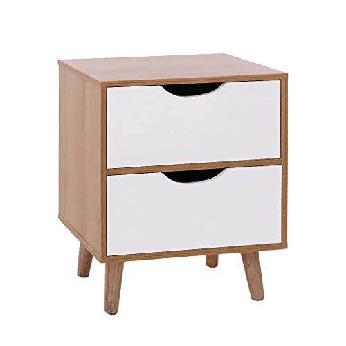 (Kybers Drawers Nightstand - Stylish Assemble Storage Cabinet Simple Modern Bedroom Bedside Locker Double Drawer Nightstand Ship from USA)