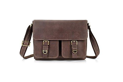 - Surnoy Men's Single Shoulder Bag, Business Cross Section Leather, 12 inch Soft Satin Satchel, Leisure Belt Covered with Brown