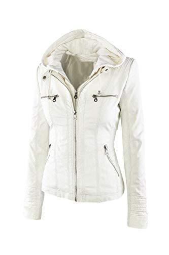 Veste Taille Cuir Blanc En Vosujotis Détachable Outwear Motorcyle Slim Femmes 5xpqPgPI