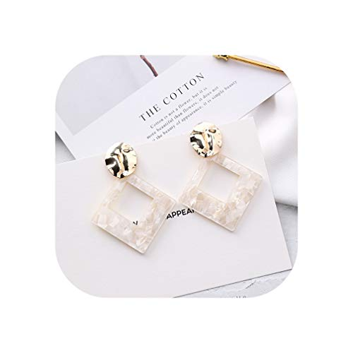 Korean Style New Square White Shell Metal Big Earrings For Women Fashion Jewelry