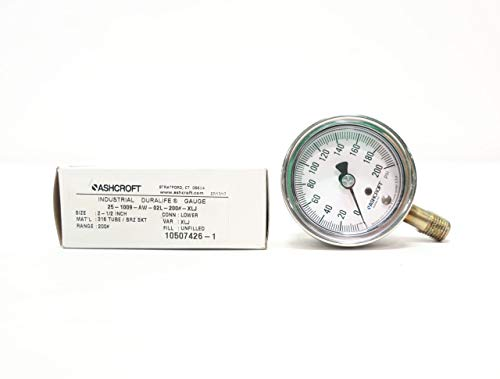 ASHCROFT 25-1009-AW-02L-200#-XLJ DURALIFE Pressure Gauge 1/4IN NPT 0-200PSI