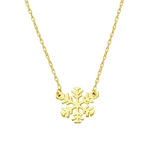 14k Yellow Gold Mini Snowflake Necklace on an Adjustable 16-18 in. Chain ()