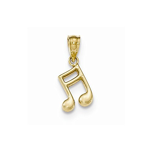 14k Yellow Gold Polished Music Note Pendant