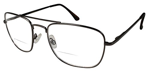 Edge I-Wear Large Clear Aviator Bifocal Metal Reading Glasses with Spring Hinges - Glasses Metal Aviator