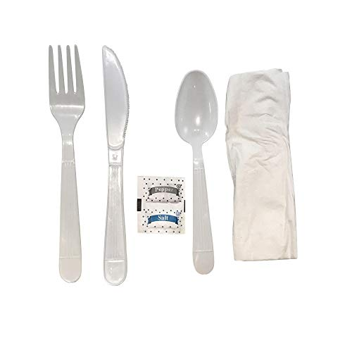 (Faithful Supply 125/case Plastic Cutlery Packets Individually Wrapped | Heavy Duty White Wrapped Cutlery Kit with Fork Spoon Knife Napkin and Salt and Pepper Packets (White, 125))