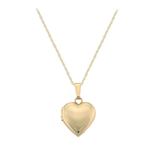 Children's Jewelry - 15 Inches 14K Yellow Gold Heart Locket Necklace by Loveivy