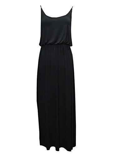 MonsterCloset Cami w/ Bra Strap and Elastic Waist Band Maxi Dress, Black, Large