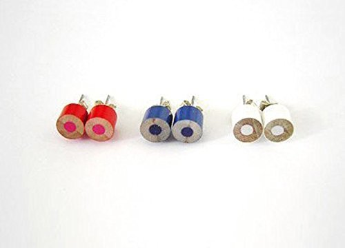Color Pencil Ear Studs Flags of the Nations (Brazil, Germany, Spain, USA, Canada, UK, AUS, England, Japan) Pencil Jewelry