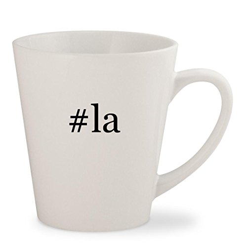 #la - White Hashtag 12oz Ceramic Latte Mug Cup (Tickets Las To Airline Vegas)