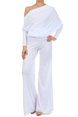 MULTI WAY Reversible PLUNGING Convertible Romper Jumpsuit Off One Shoulder Halter - White - Large
