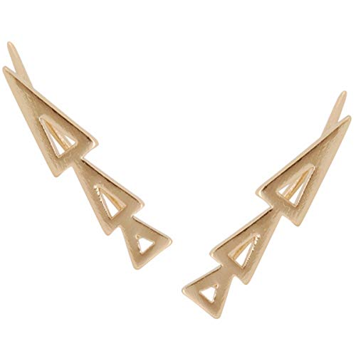 Arrows Spiked (Humble Chic Triangle Ear Climbers - Arrow Shaped Cutout Ear Cuff Crawler Stud Earrings, Gold-Tone Triangle)