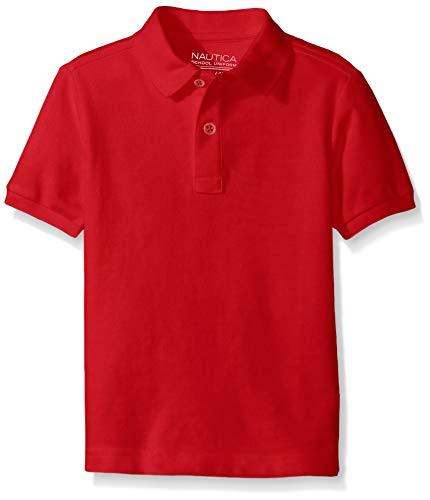 Nautica Big Boys' Uniform Short Sleeve Pique Polo, Red, Medium/10/12