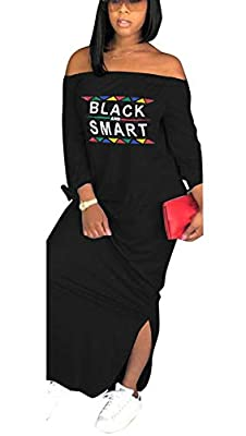 Bluewolfsea Womens Fashion Letter Print Off The Shoulder Long Sleeve T Shirt Maxi Dress with Slit