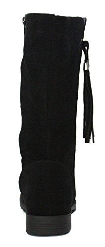 New Girls schwarzes Veloursleder Modische Stiefel Fransen Detail und Reißverschluss - Schwarz - UK Größen 1-13