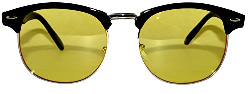 Retro Vintage Black Silver Half Frame Sunglasses Yellow Dark - Online Retro Sunglasses