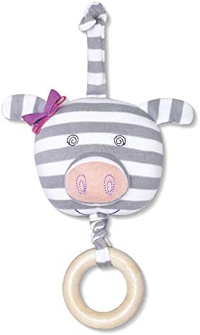 Organic Farm Buddies Penny Pig Waggle Toy for Newborns, Infants, Toddlers - Hypoallergenic, 100% Organic Cotton