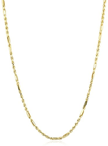 Milano Rope Chain (10K Yellow Gold 4mm Milano Rope Chain Hollow Necklace - 20