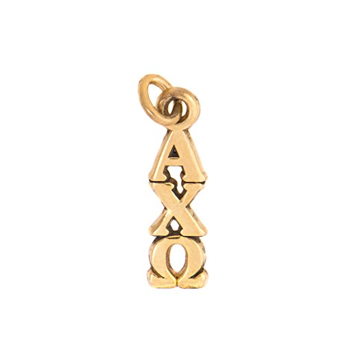 Alpha Chi Omega Sorority Letter Sterling Silver or 14k Gold Lavalier Necklace with Chain AXO (Gold)
