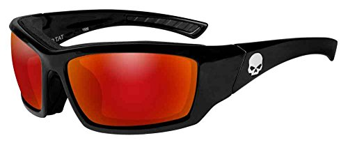 Harley-Davidson Men's Tat Skull Gasket Sunglasses, Red Mirror Lenses HATAT13 (Hd Nitro Seal)