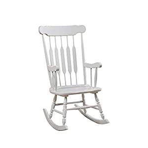 Benjara Classic Cottage Style Wooden Rocking Chair with Lath Back Design, White