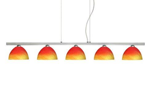 Besa Lighting 5LP-4679SL-SN 5X40W G9 Brella Pendant with Solare Glass, Satin Nickel Finish