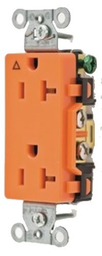Hubbell Wiring Systems IG20DR SpikeShield Style Line Commercial Specification Grade Straight Blade Isolated Ground Decorator Receptacle, 125V, 20A, 1 HP, 2-Pole, 3-Wire, Orange
