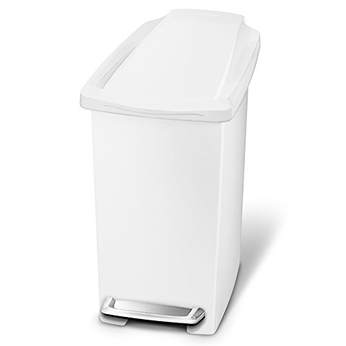 simplehuman 10 Liter / 2.6 Gallon Compact Slim Bathroom or Office Step Trash Can, White Plastic (White Pedal Bin)