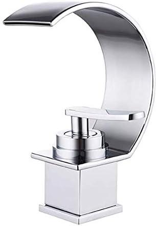バスルームのシンク蛇口シングルハンドル滝クロームモダンクリエイティブデザイン流域容器ミキサー蛇口デッキマウント高さ18cm