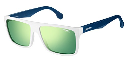 Carrera Unisex Carrera 5039/S Matte White/Blue With Green Multilayer Lens - Sunglass Websites