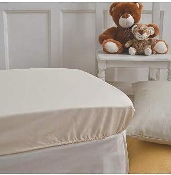 50x80cm Drap-housse en polyester et coton pour lit de b/éb/é /Écru Minicuna