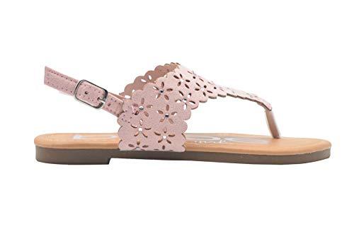 - bebe Girls Fashion Sandals 2 M US Little Kid Scalloped Perforated Slingback T Strap Flats Blush