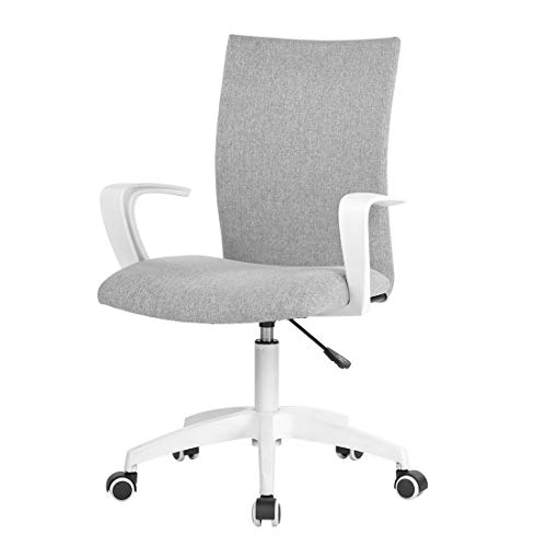 LIANFENG Office Task Chair with Armrest and Adjustable Height, Home Computer Desk Chair for Work Space, White & Grey