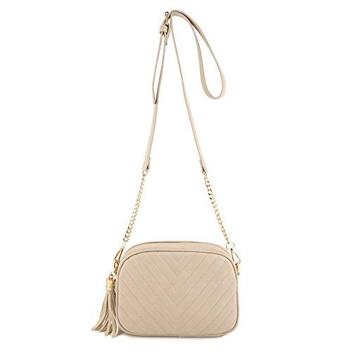 Simple Shoulder Crossbody Bag With Metal Chain Strap And Tassel Top Zipper (Beige)