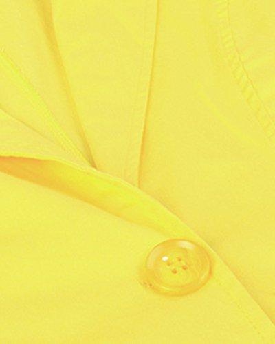 Casual Larga Chaqueta Manga Amarillo Abrigo Formal Cárdigan Mujer RqfEg8zwz