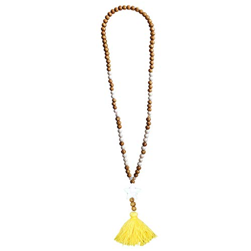Crytech Crytech Bohemian Handmade Wooden Beaded Long Chain Necklace Ethnic Boho Beach Turquoise Beads Charms Tassel Pendant Necklace for Women Ladies Fashion Jewelry (Yellow)