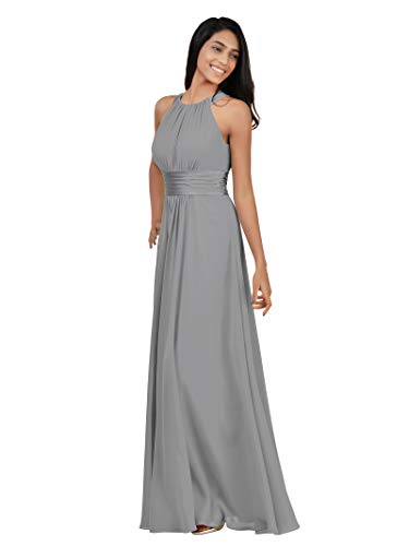 Alicepub Sleeveless Bridesmaid Dresses Long for Women Formal Elegant Halter Evening Dresses for Weddings Empire Maxi Party Prom Gown, Dove, US8