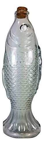 Backwoods Lighting LLC Glass Fish Bottle,Vintage Style Collectable Clear Detailed Fish Bottle