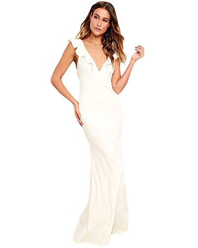Women Sleeveless Lace Chiffon Dresses (Khaki) - 8