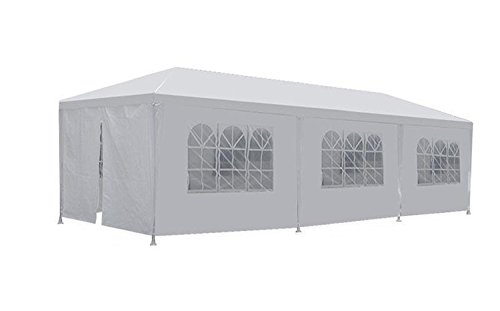 FDW PT-1030-8-White 10'x30' White Outdoor Gazebo Canopy Wedding Party Tent 8 Removabl -