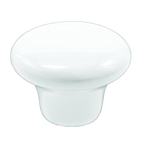 Prime-Line MP9363 Mushroom Cabinet Knob, 1-1/4 in, Porcelain, White, Gloss Finish, Pack of 5, 5 Piece (Pull Outside Drawer)