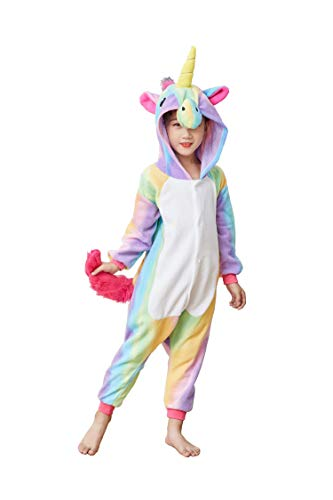 Flora Huxley Unisex Kids Unicorn Onesie Cosplay Costume Animal Pajamas One Piece Halloween Sleepwear 95 Rainbow ()
