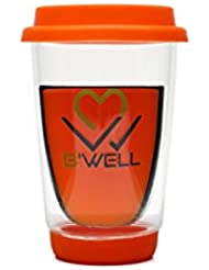 B'WELL Glass Tumbler - Coffee Mug Tea Cup Double Walled Travel Mug To Go With Silicone Lid & Coaster - Drinking Glass Hot & Cold Beverages - Reusable Cup Dishwasher & Microwave Safe 12 Ounces (Orange)