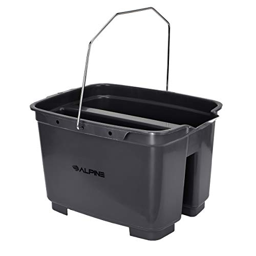 Alpine Industries 19.5 Qt. Double Pail Plastic Bucket/Caddy - Commercial Grade Heavy Duty Caddy w/Handle for Cleaning Home Bathroom Floors & Windows (Plastic Double Pail Buckets)