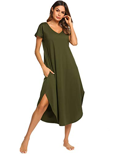 Ekouaer Maxi Dress Ladies Sleepwear Short Sleeve Nightshirts Cotton Long Lounger Dress (Green,M)